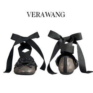 Vera Wang Metallic Studded Ankle Wrap Flats NWOT